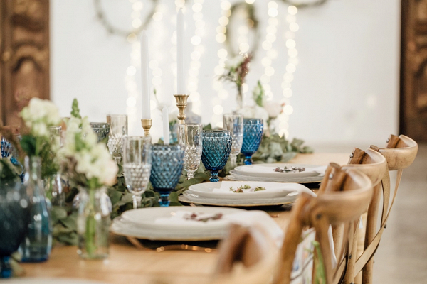 Table Decor with Blue Glass Goblets