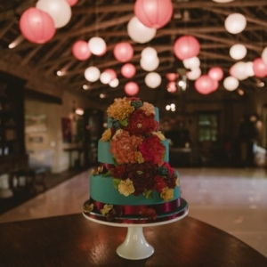 Wedding cake with paper lanterns