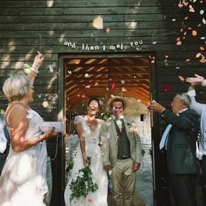 Confetti toss ceremony exit