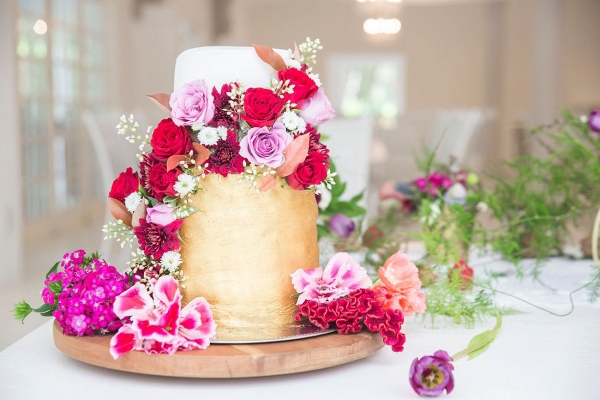 Metallic Cake with Floral Decoration