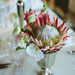 Protea & orchid centerpiece