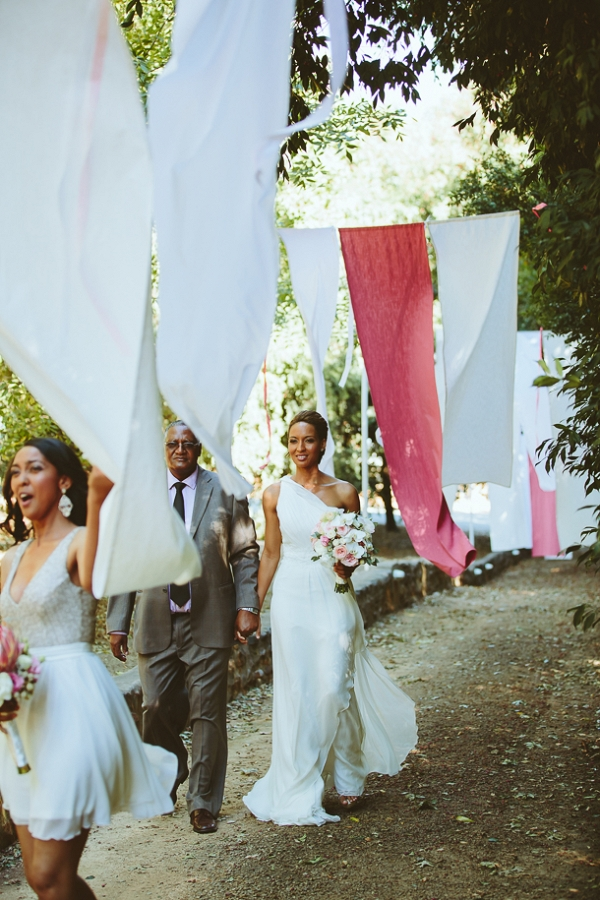Hanging linen banners en route to ceremony