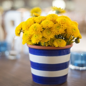 Bright Blue & Yellow Centerpiece