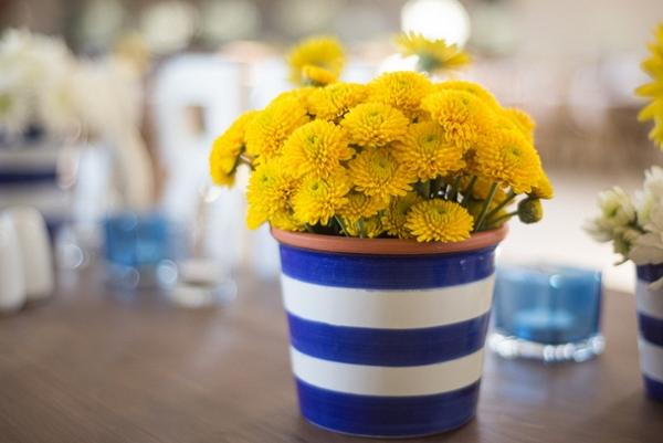 Bright Blue & Yellow Centerpiece