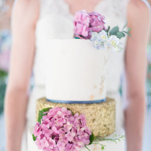 Gold Cake with Hydrangeas