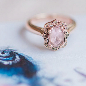 Pink Gem Antique Style Engagement Ring
