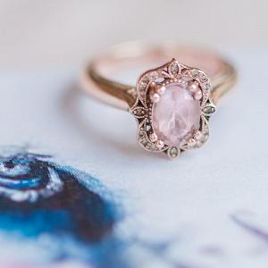 Pink Gem Antique Style Engagement Ring