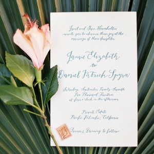 Tropical Calligraphy Wedding Invitation