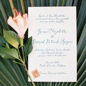 Tropical Calligraphy Wedding Invitation