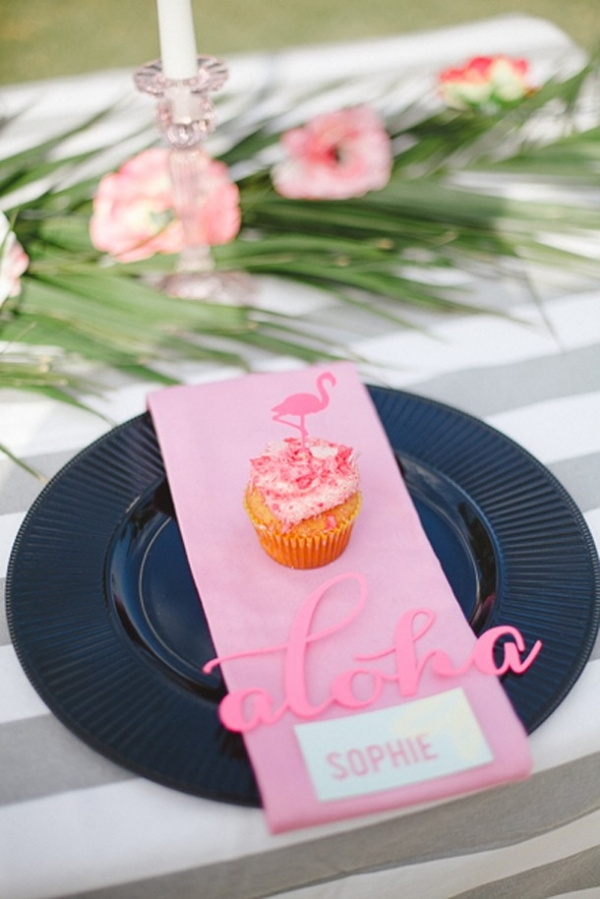 Tropical bridal shower place setting