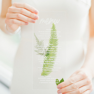 Acrylic Menu with Pressed Fern