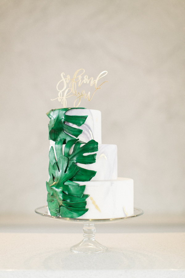 Tropical Greenery Marble Wedding Cake