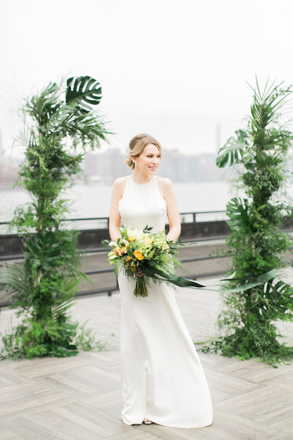 Tropical Greenery Ceremony Arch