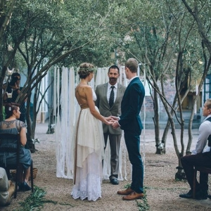 Outdoor boho wedding ceremony