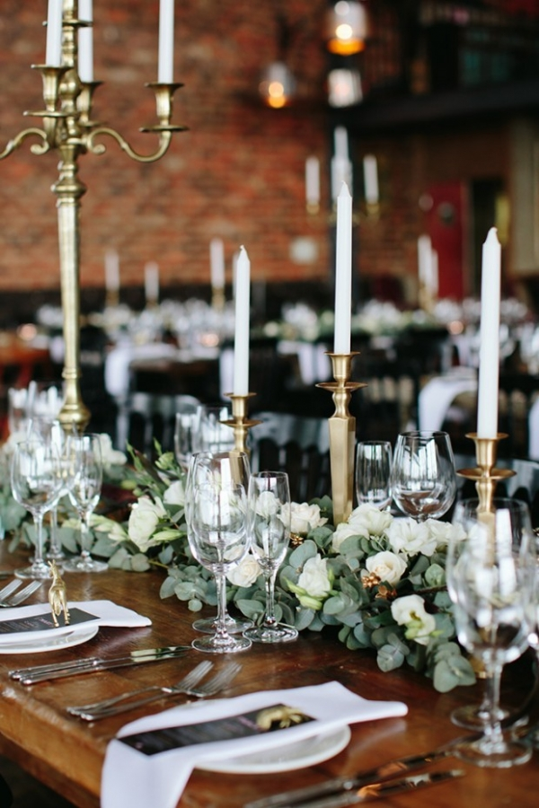 Gold and greenery wedding tablescape