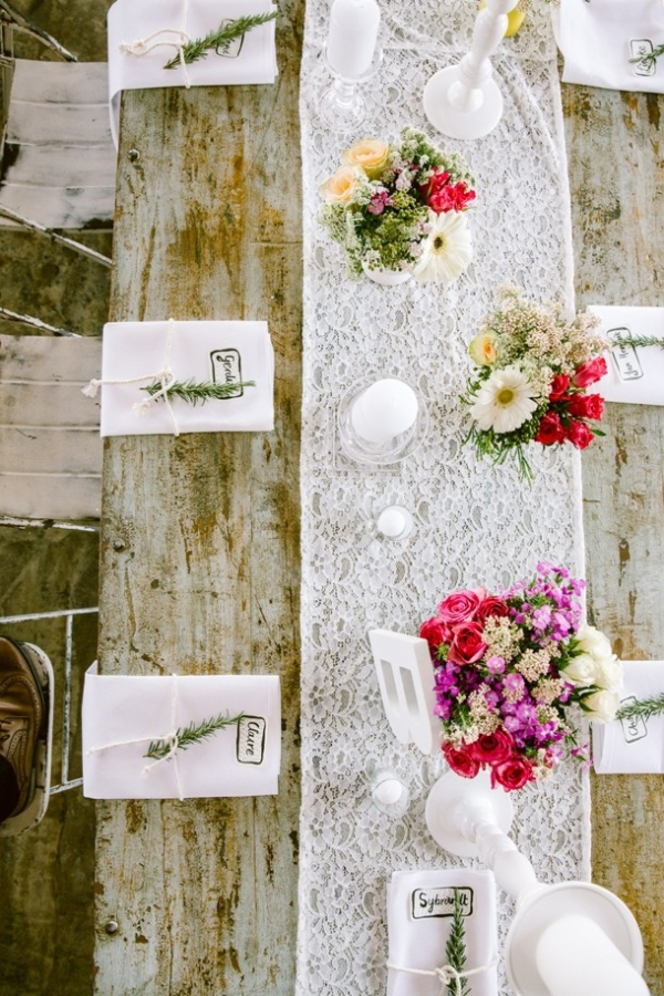 Table with lace runner