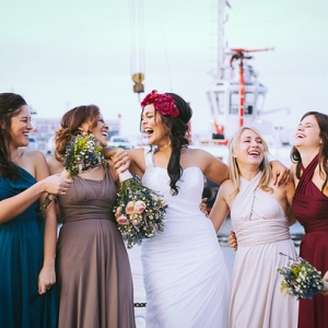 Bride with Jewel Tone Bridesmaids