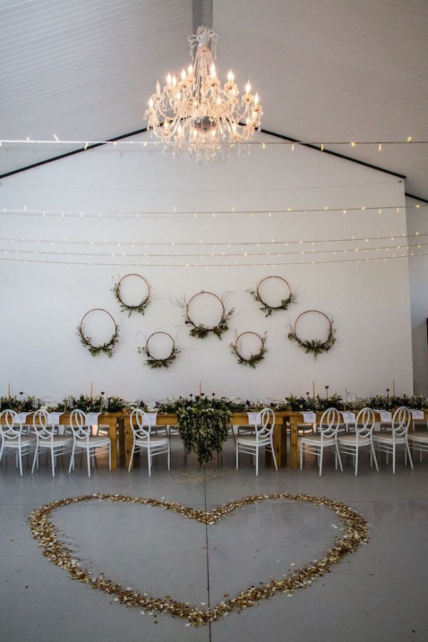 Reception Decor with Petal Heart