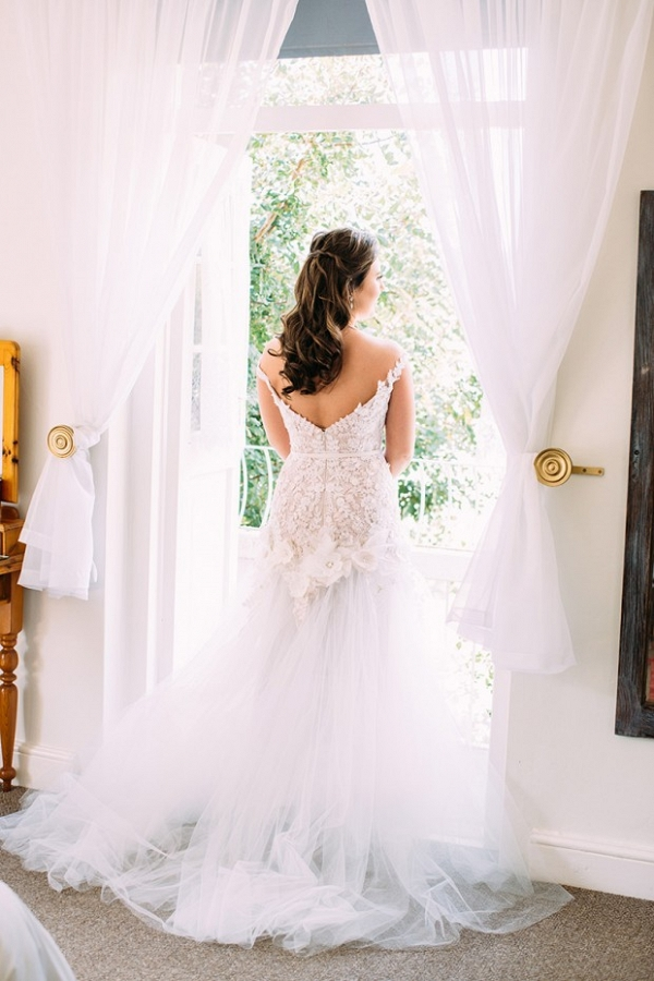 Floral applique lace wedding dress