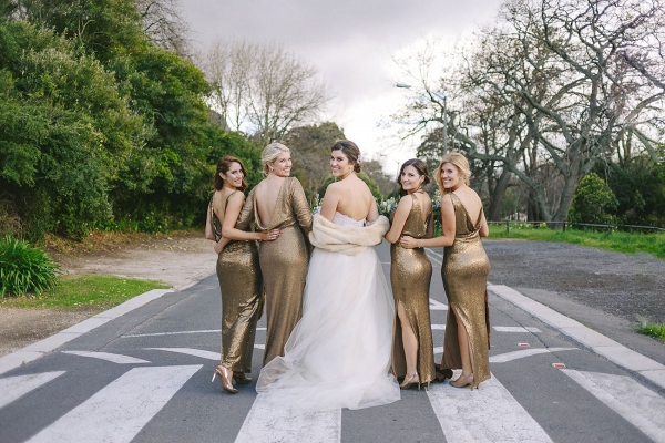 Bridesmaids in Gold Sequin Gowns