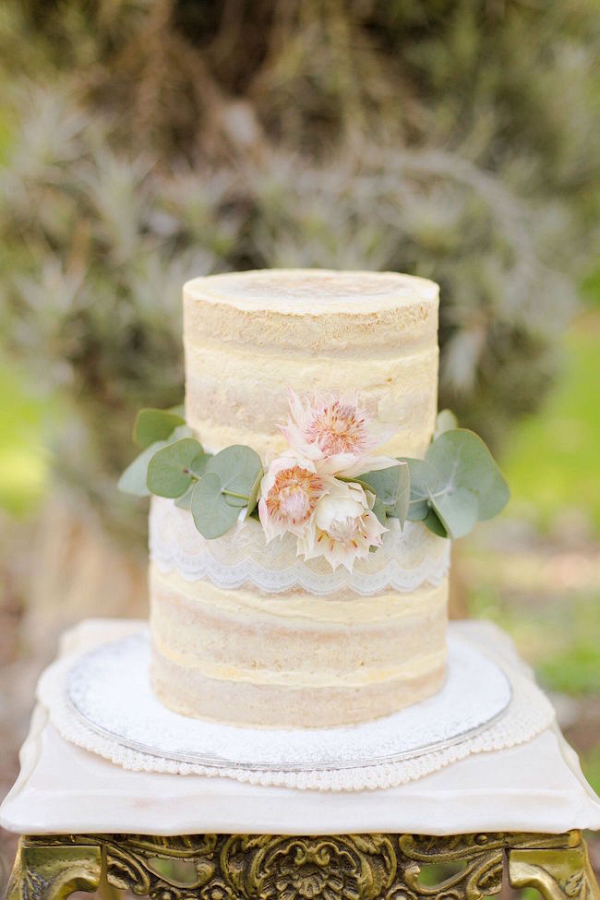 Semi Naked Cake with Blushing Bride Protea Decoration