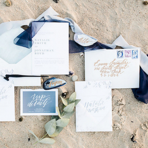 Calligraphy Invitation in Shades of Blue