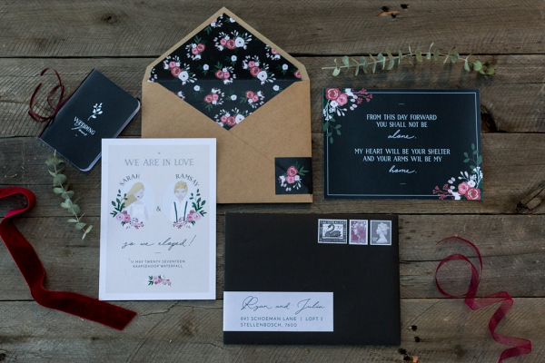 Floral Print Elopement Stationery Suite