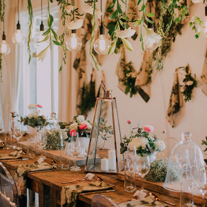 Rustic Table with Hanging Florals
