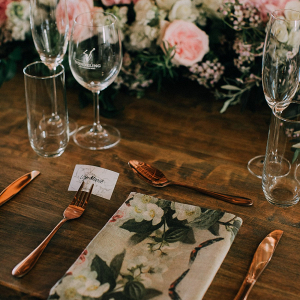 Place Setting with Floral Print Napkin