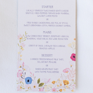 Menu with Watercolor Floral Detail