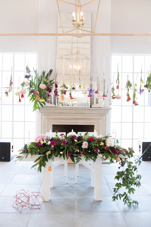 Sweetheart Table with Hanging Flowers