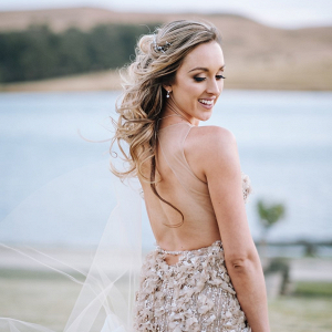 Embellished Champagne Bridal Reception Dress