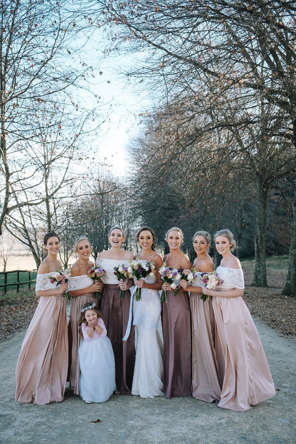 Two Piece Lace Off-the-shoulder Bridesmaid Dresses
