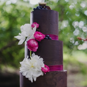 Eggplant Color Wedding Cake