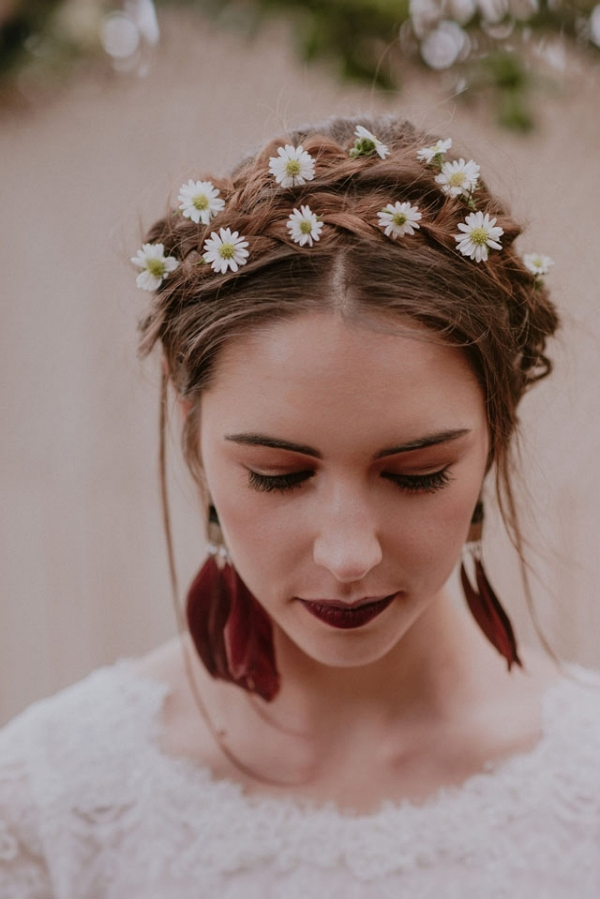 Boho Bride with Flowers in Hair