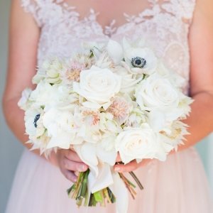 Blushing bride protea and anemone wedding bouquet