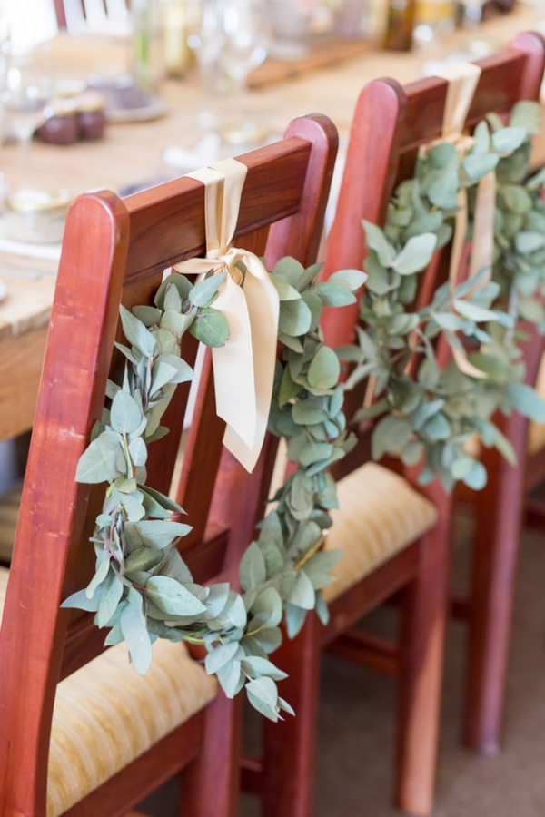 Greenery chair wreaths
