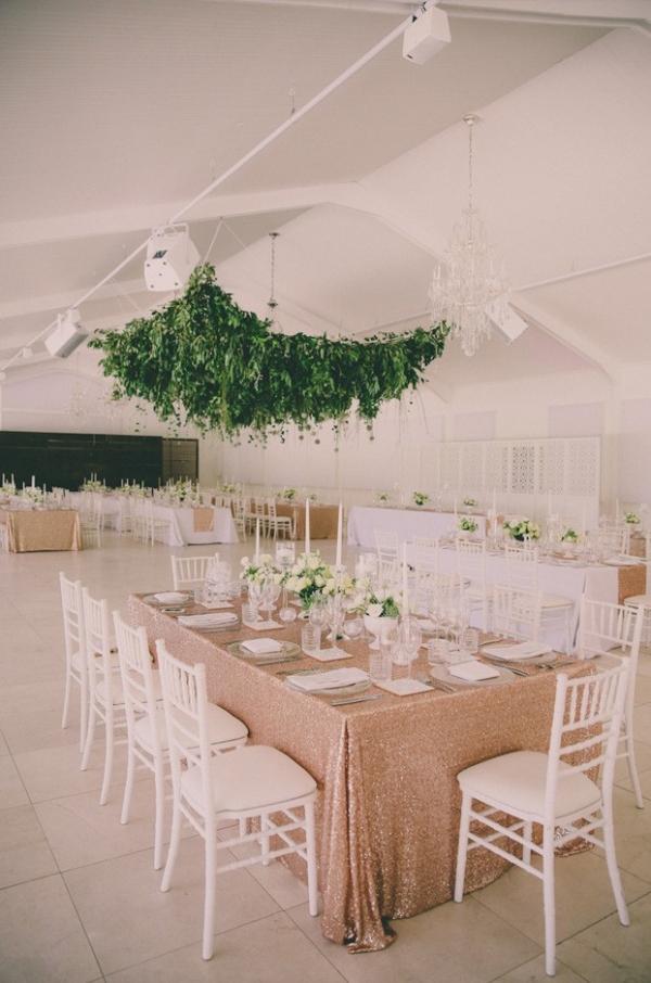 Hanging greenery reception decor