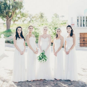 Long white bridesmaid dresses