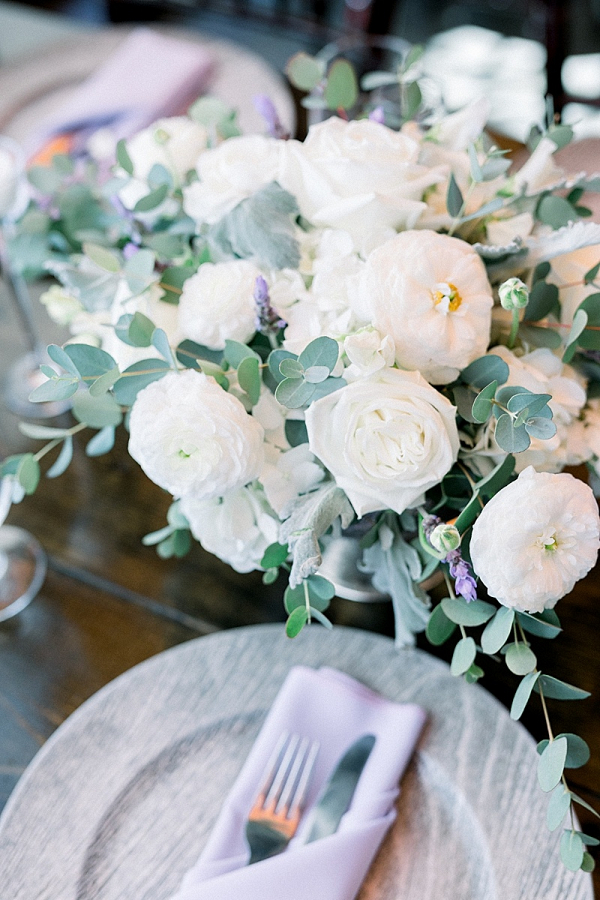 White and lavender floral centerpieces