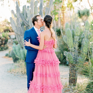 Hot pink Marchesa gown