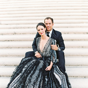 Black and white Marchesa gown for elegant anniversary portraits