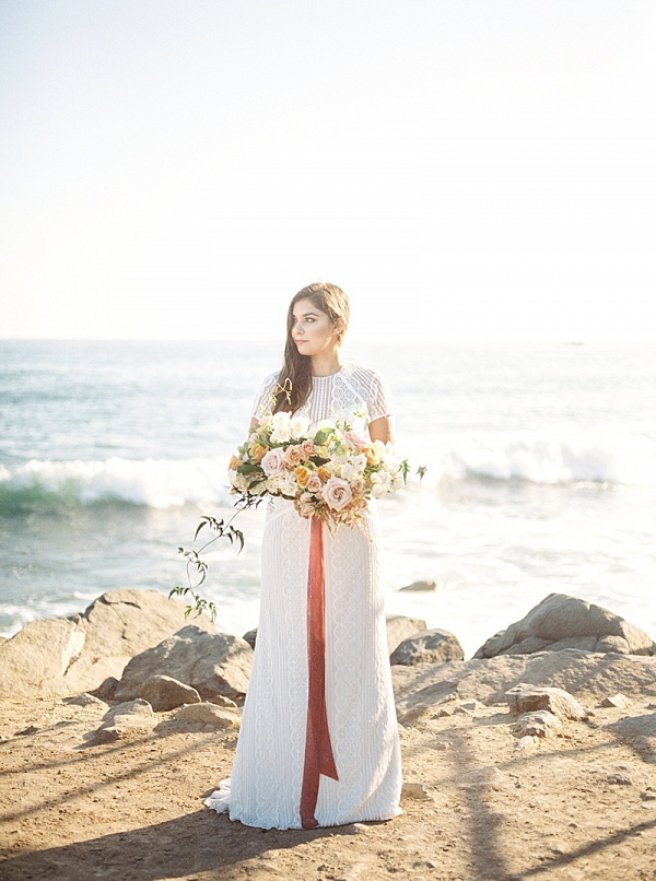 Coastal bride in modern lace wedding dress