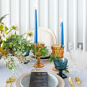 Blue and yellow constellation wedding table design