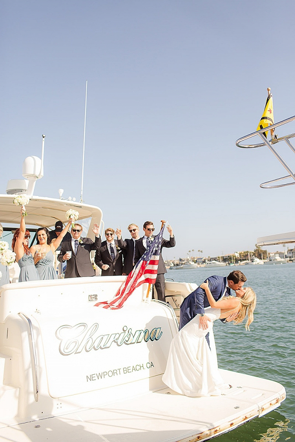 Wedding exit on yacht