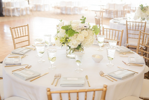 Classic white wedding centerpiece