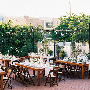 Outdoor Darlington House wedding reception with farm tables