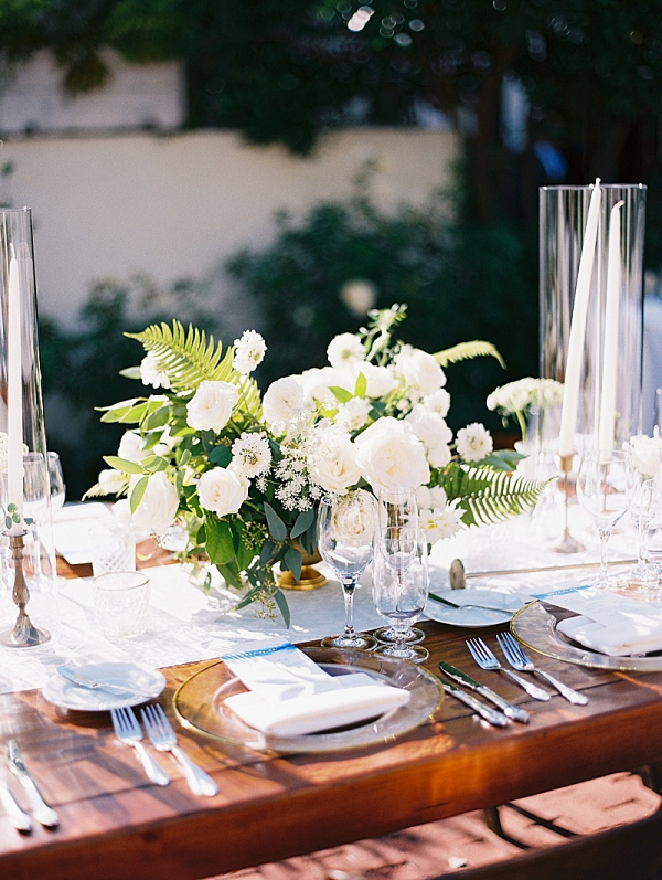 Classic white floral wedding centerpiece