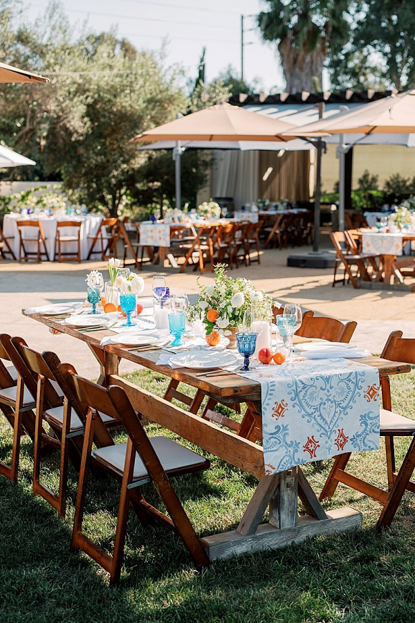 Spanish tile inspired wedding table design