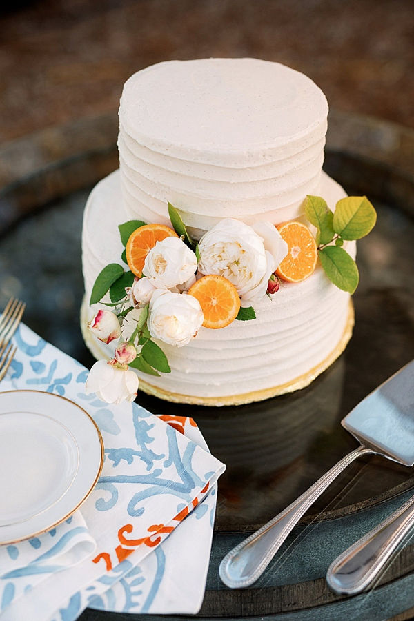 Citrus and floral wedding cake